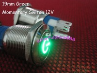 19mm Green Metal with Symbol Momentary Push Button Led Car N/O N/C Switch 12V DC