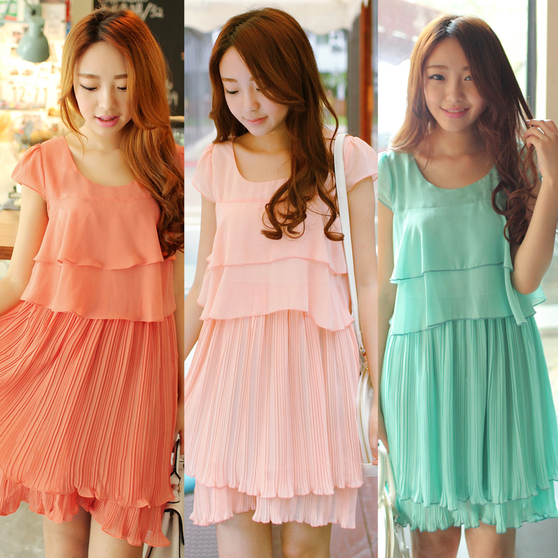 2013 summer women's sweet short-sleeve loose solid color creased chiffon one-piece dress spring(China (Mainland))