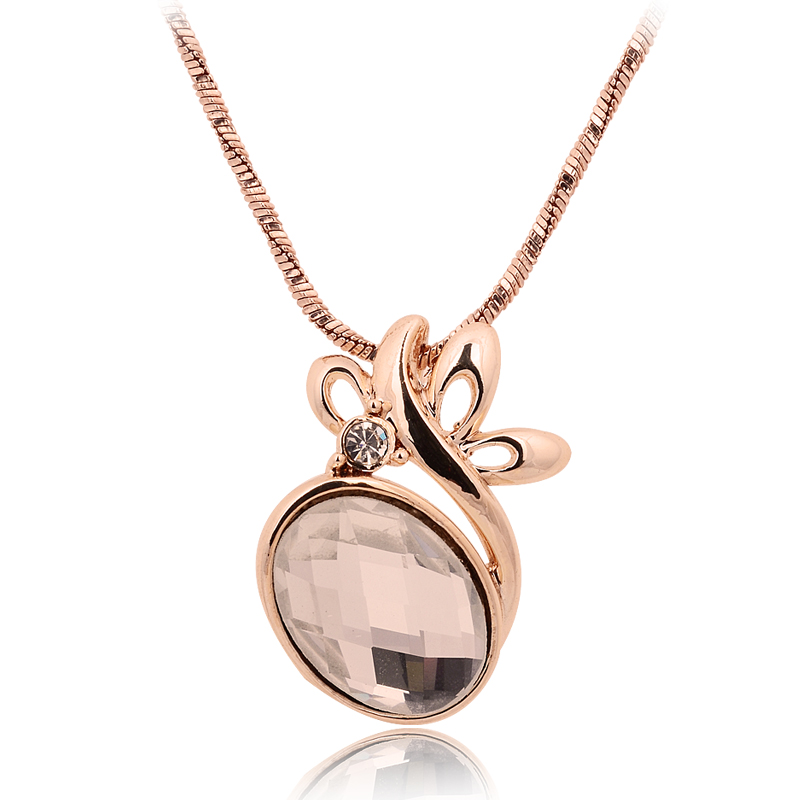 Ice dew flower crystal rose gold necklace female accessories(China (Mainland))