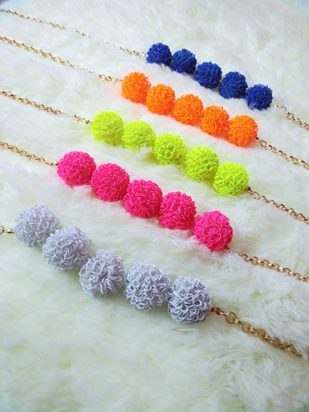 All-match candy color ball short necklace women's chain casual accessories(China (Mainland))
