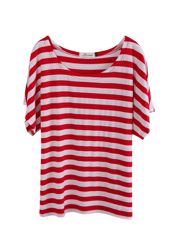 New Women's Loose Tee T shirts Top Red&White Striped Cotton T-Shirt Stripe Batwing Short Sleeve Blouse for Women(China (Mainland))