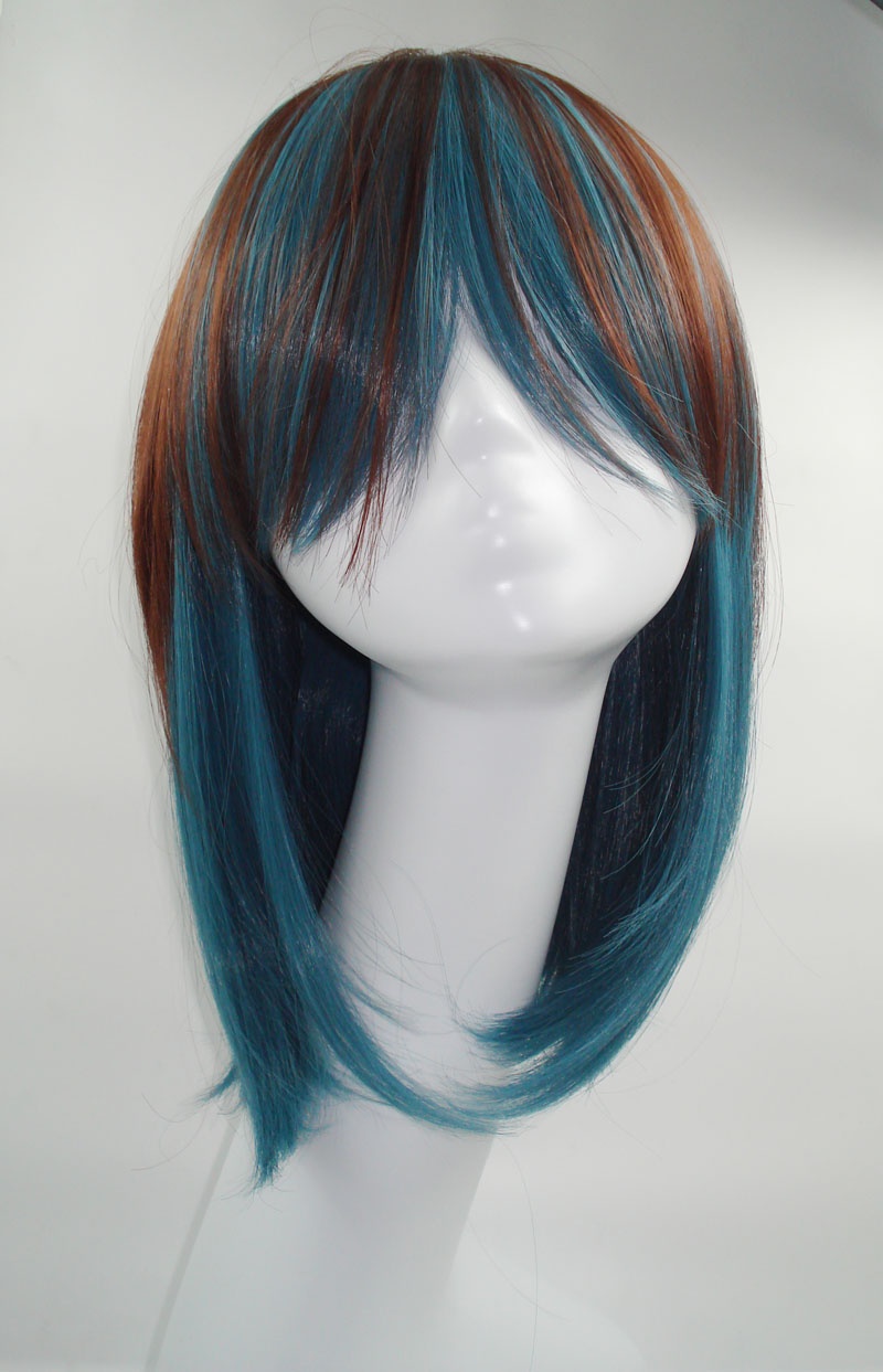 Free shipping Wig japanese style stubbiness design long style high temperature wire cos wig gradient color(China (Mainland))