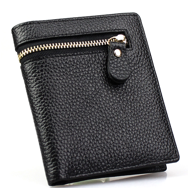 Free shipping Card holder app blog male wallet short design genuine leather first layer of cowhide folder vertical(China (Mainland))