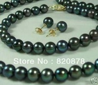 8-9mm Black Natural Pearl Necklaces Bracelets Earrings Set