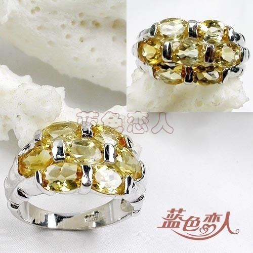 Sparkling natural 925 pure silver ring gold plated natural yellow crystal ring heart jewelry(China (Mainland))