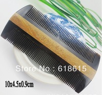 Free Shipping  YT10.1.159 natural green wingceltis and black horn comb 10x4.5x0.9cm 20g twin hairdresser