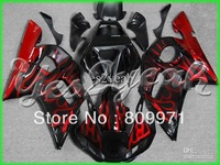 Y106 Red Flames Black Fairing for YZF-R6 98-02 YZF R6 98 99 00 01 02 YZFR6 R6 1998-2002 1998 2002