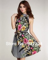 Fashion dresses mini dress flower printed Dresses  / Size: S,M,L / h135 Free Shipping