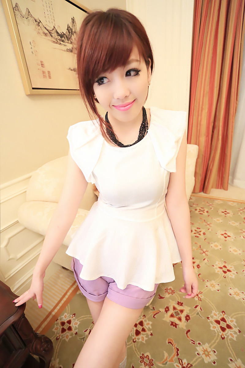 2013 preppy style sleeveless slim waist ruffle elegant shirt 9058(China (Mainland))