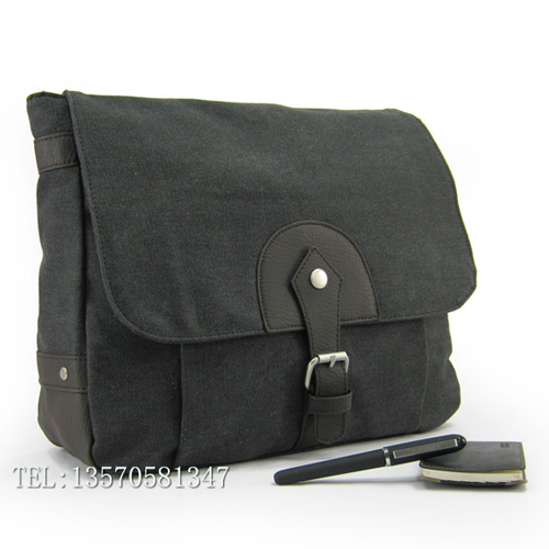 Classic brief canvas shoulder bag casual bag man bag women's handbag school bag black 100% cotton cloth(China (Mainland))