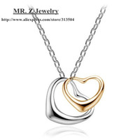 Wholesale Lots Two Double Heart Pendant Necklace Fashion Korean Jewelry 10Pcs/Lot Free Shipping