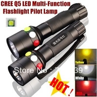 CREE Q5 LED signal light Yellow White Red LED Flashlight Torch Bright light signal lamp For 1 x 18650 Battery