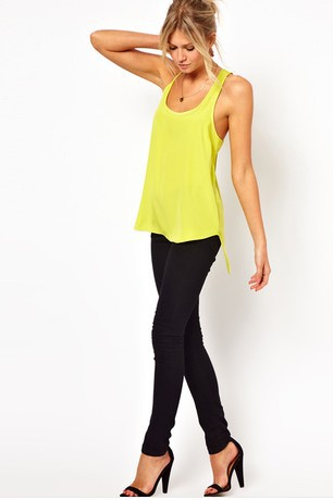 Free shipping woman Back lemon chiffon camisole cross dovetail(China (Mainland))