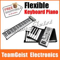 Digital Electric Piano 61 Key Flexible Hand Roll Up 61K Soft KeyBoard Piano with 128 tones 100 rhythm MIDI Port