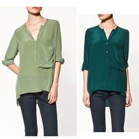 Hot V-neck long-sleeved chiffon shirt shirt large pocket C27