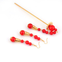 Vintage red abrism hair stick set bridal accessories red hairpin earrings accessories 1013