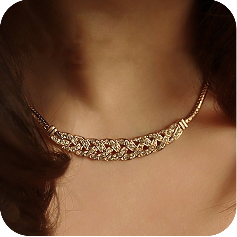 Fashion star on0171 twist sparkling diamond formal dress short necklace chain $ 10 mixed batch Free shipping(China (Mainland))