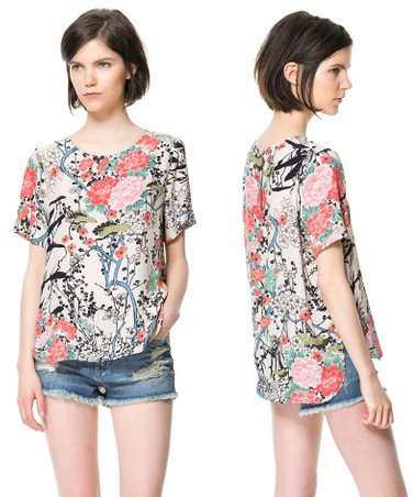 Free shipping woman Big flower printing white short-sleeved shirt irregular hem chiffon shirt blouse(China (Mainland))