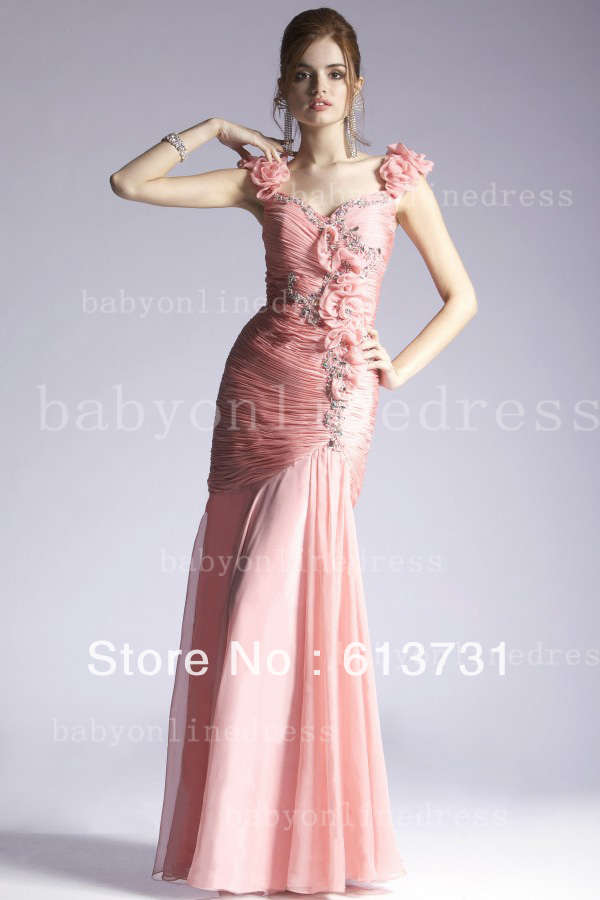 Wholesale - 2013 Sexy Pink Long Mermaid Evening Dresses Beaded Prom Dresses With Flowers Straps(China (Mainland))