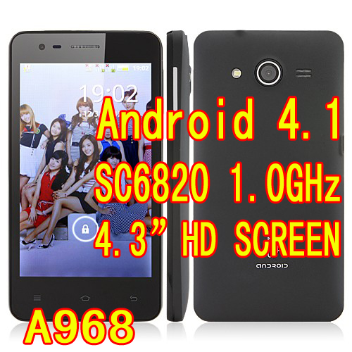 "Cheap A968 SC6820 1.0GHz Phone Android 4.1 OS 4.3"" HD Screen 3.0MP Camera mobile phone Spanish Russian Portuguese Free shipping(Hong Kong)"