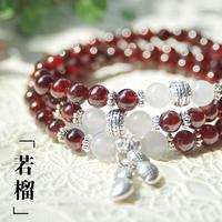 Natural Red Garnet Silver Pendant Bracelet  Multilayer first original spirituality