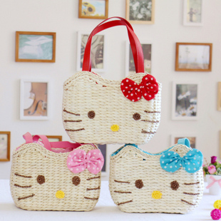 Free shipping hot sale hello kitty beach bag straw bag cartoon handbag casual bag small rattan bag fashion woven handbag