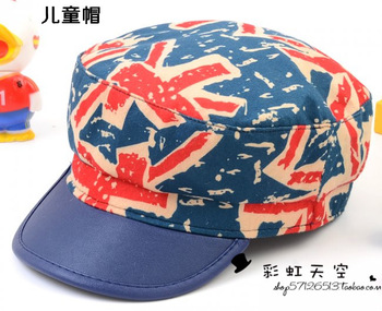 National flag pattern child military hat male general fashion doodle letter casual flat hat