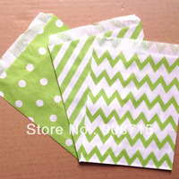 Free Shipping 550pcs striped/chevron/dot  party favor bags  ,Paper Treat Bags lime green
