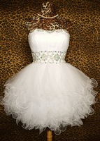 A003 strapless white organze tulle sexy beaded Short mini Formal Pageant ball birthday Formal Party Cocktail Prom Dresses gown