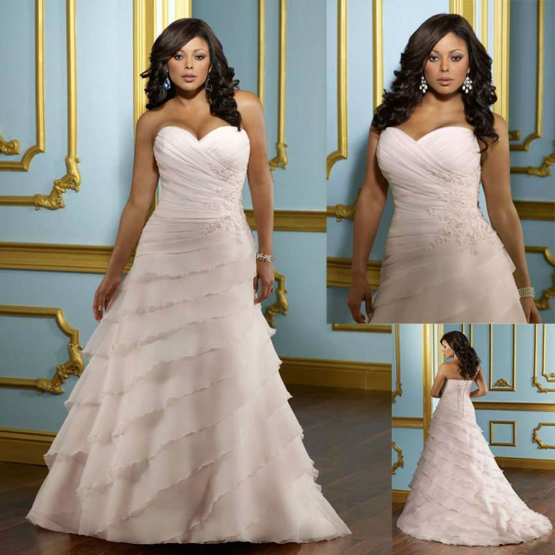 Free Shipping 2012 Best Selling Custom-made Organza Cascading Ruffle Plus Size Wedding Dress(China (Mainland))