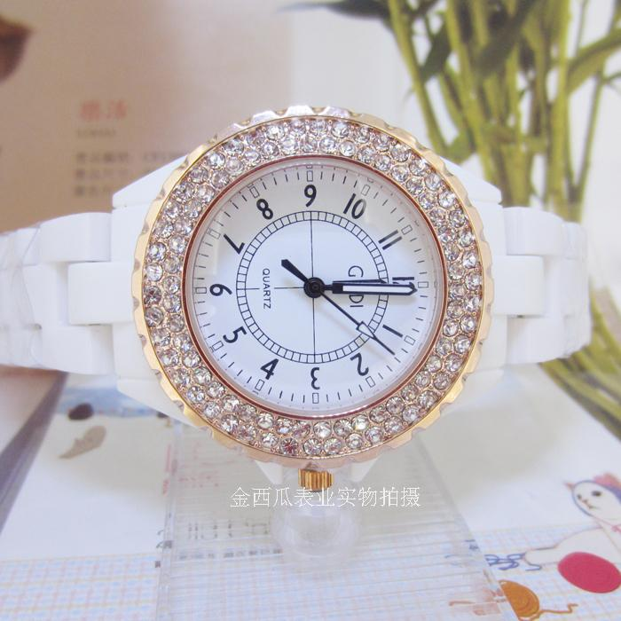 Fashion ceramic gedi full diamond digital watch women's watch birthday gift(China (Mainland))