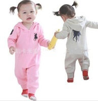 HOT SALE Brand Baby Polo Romper baby One-Piece romper with hat long sleeve boy&girl polo kids sets summer jumpsuit FREE SHIP