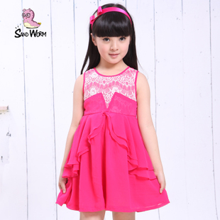 2013 New Sandworm Children's Vest sSummer Dress On Show(China (Mainland))