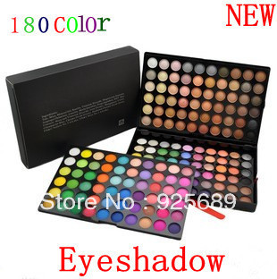 New 180 color Eyeshadow Cosmetics Mineral makeup Makeup palette tool kit Free shipping 180A(China (Mainland))