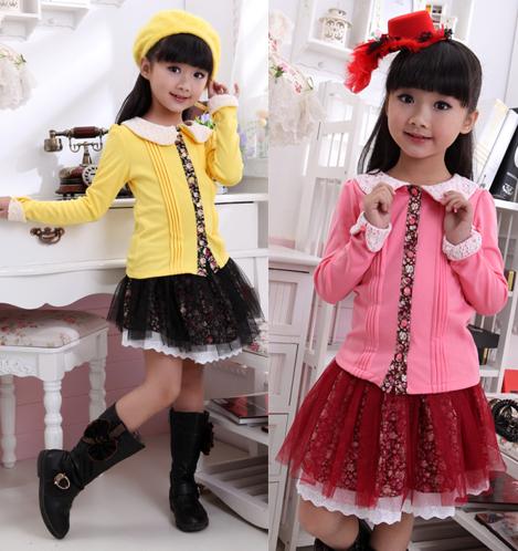 2015 spring autumn fall new casual girls long-sleeve dress fashion princess mini dress cotton for kids yellow red(China (Mainland))