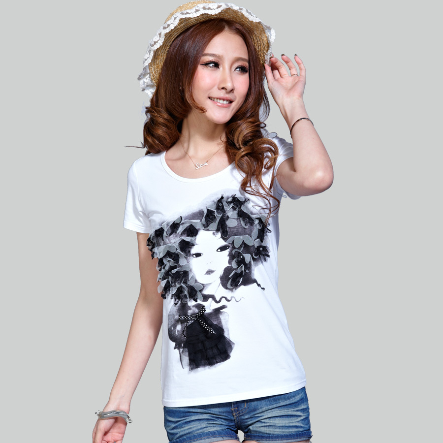 2013 summer women's top handmade three-dimensional petals of the beautiful woman head portrait female t-shirt short-sleeve(China (Mainland))