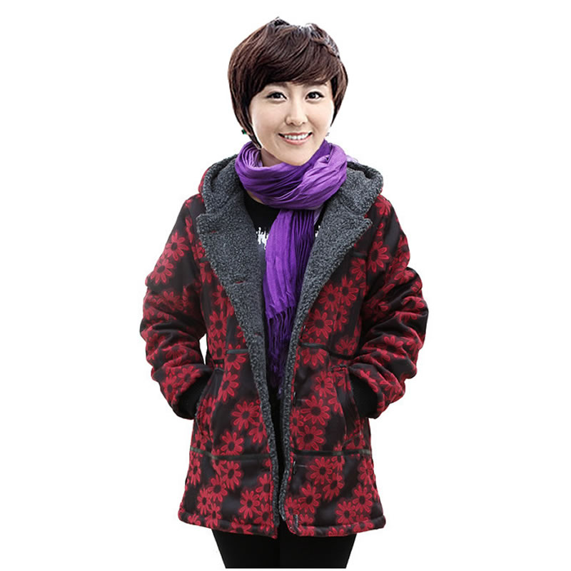 Quinquagenarian women's autumn and winter plus size mother clothing cotton-padded jacket single breasted medium-long hot-selling(China (Mainland))