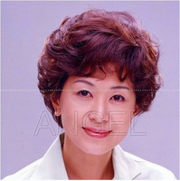 Dancingly quinquagenarian wifing women's oblique short hair curly hair bangs to send mom fluffy breathable