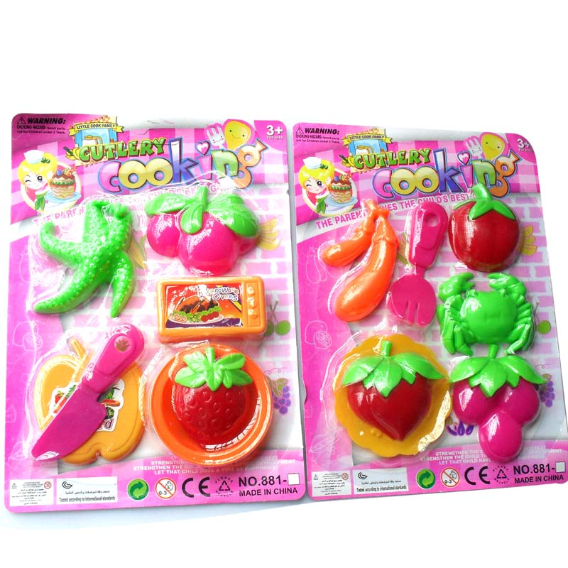 Artificial sooktops 881 toy artificial fruits and vegetables crab knife plate(China (Mainland))