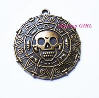 20pcs/lot Zinc Alloy Antique Bronze Pirates of the Caribbean Aztec Coin 40MM Charm DIY Pendant HG0760