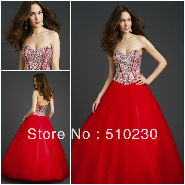 Heavy Beaded Corset Bodice Strapless Floor Length Long Ball Gowns(China (Mainland))