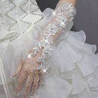 Romantic White lace sparking rhinestones long design bridal  gloves for wedding