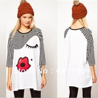 Fashion Womens Round Neck Stripe Kiss Red Lips Print Loose T-shirt Top Tee