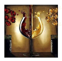 free shipping Holiday Sale 100% handmade abstract oil paintings wine cup 2 panel wall art for dining room decor