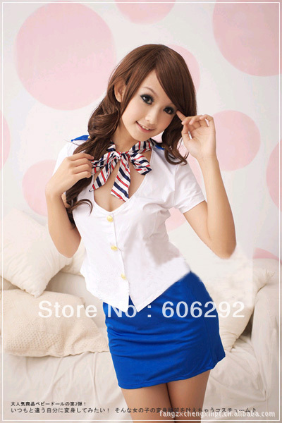 Free shipping role Playing sexy lingerie women's skirt dress stewardess uniform temptation blue free size wholesale/retail(China (Mainland))