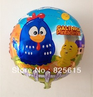 Free shipping 100pcs/lot 18 inch round shape foil balloon helium balloon Galinha Pintadinha Balloon