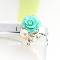 Fashion Girls Gold-Plating Pearls Rhinestone Rose Flower Crystal Earphone Jack  Dust Plug 3.5mm Phone Accessories