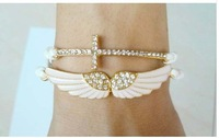 New Arrive Gold Shine Heart Angle Wings Cross leather Crystal Stone Bracelet