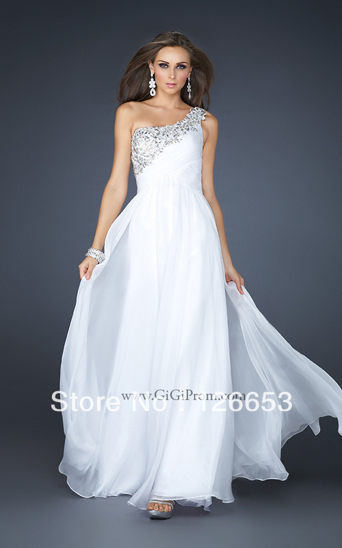 Free Shipping Popular Empire Waist One Shoulder Beaded Chiffon Floor Length Long White Evening Gown 2013 New Design Prom ED065(China (Mainland))