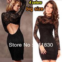Free Shipping New 2014 Fall Brand Dresses Women High Waist Lace Mini skirt Long sleeve Club Sexy Big Size Dress Women's Wear,